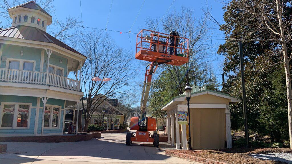 high reach working in theme park