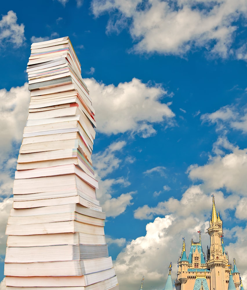Stack of Books with Cinderella Castle
